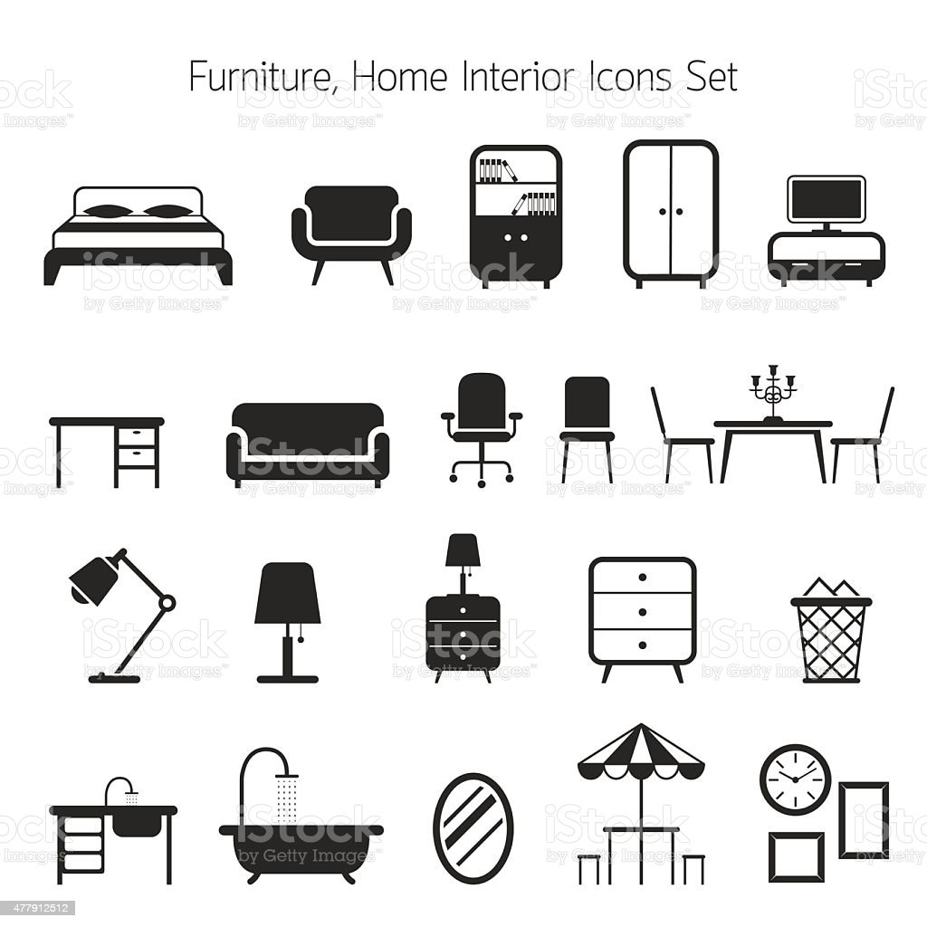 Furniture Mono Icons Set vector art illustration