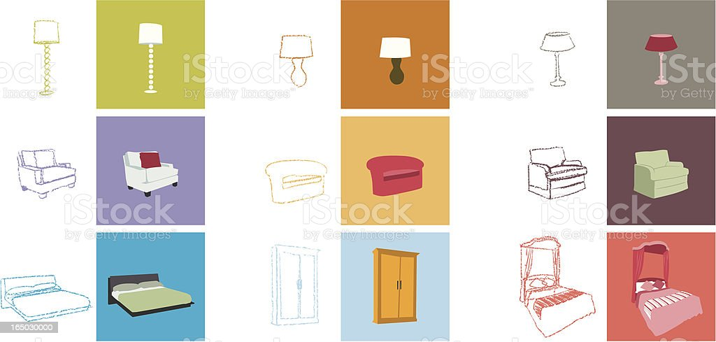 furniture objects royalty-free stock vector art