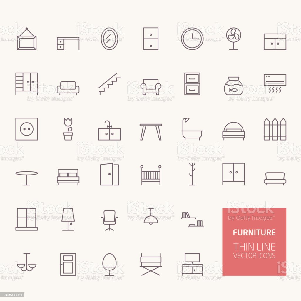 Furniture Outline Icons for web and mobile apps vector art illustration
