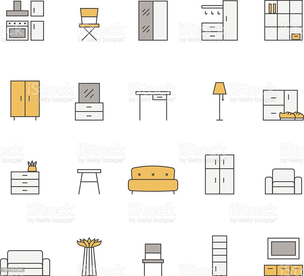 Furniture outline multicolored vector icon set. Minimalistic design. vector art illustration