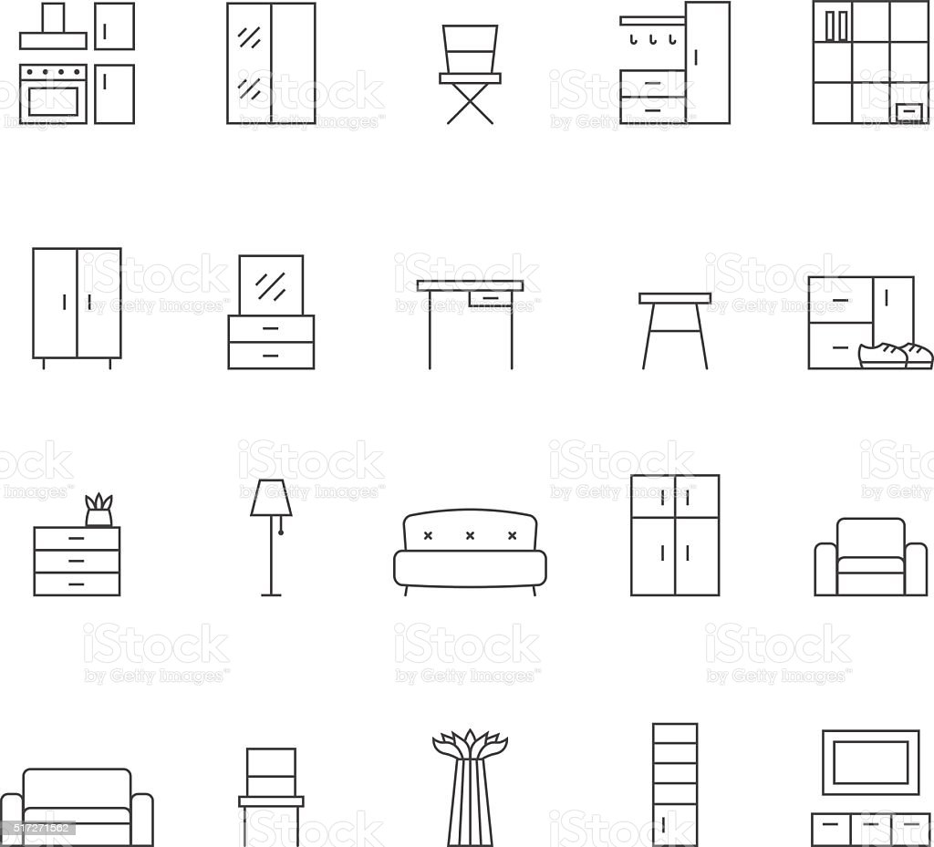 Furniture Outline Vector Icon Set. Minimalistic Design. Royalty Free Stock  Vector Art Part 79