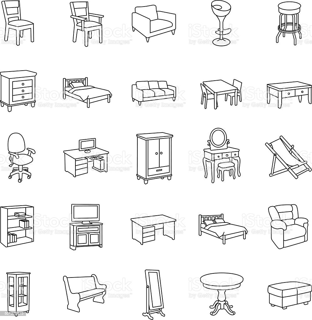Furniture outlines vector icons vector art illustration