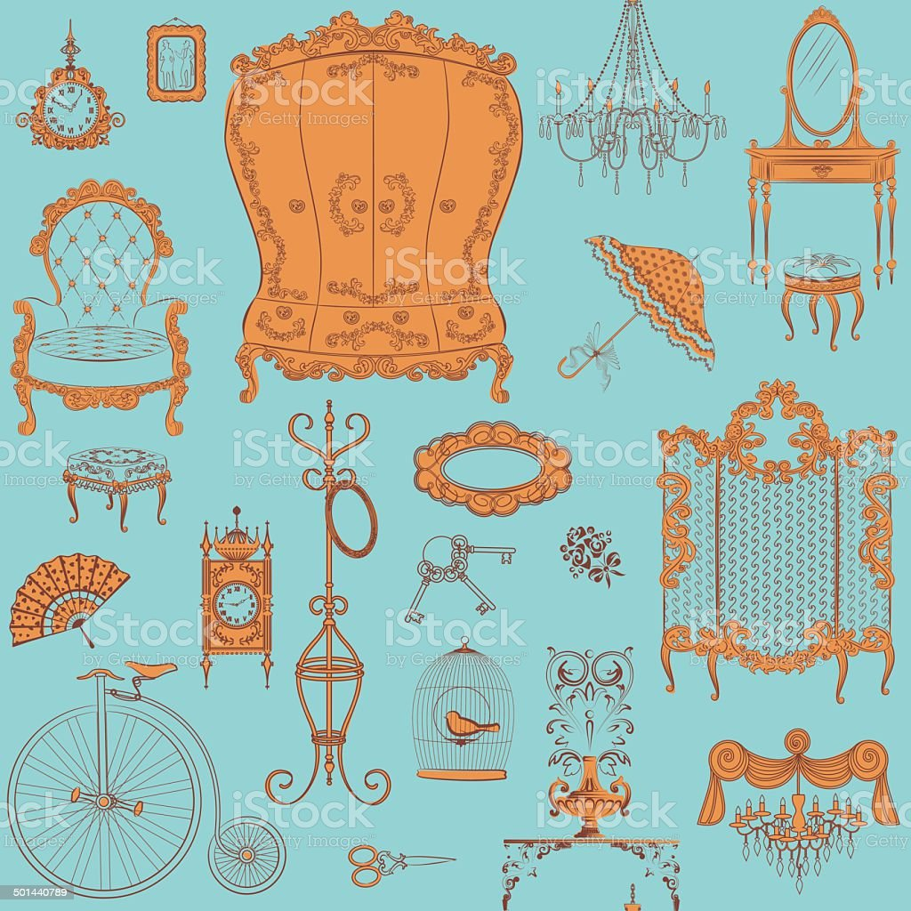 Furniture pattern vector art illustration
