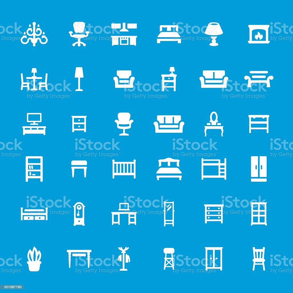 Furniture related vector icon set vector art illustration