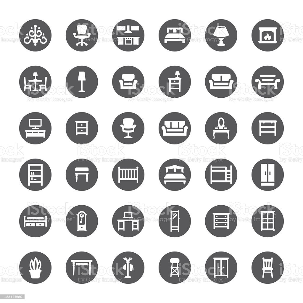 Furniture related vector icons vector art illustration