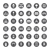 Furniture related vector icons