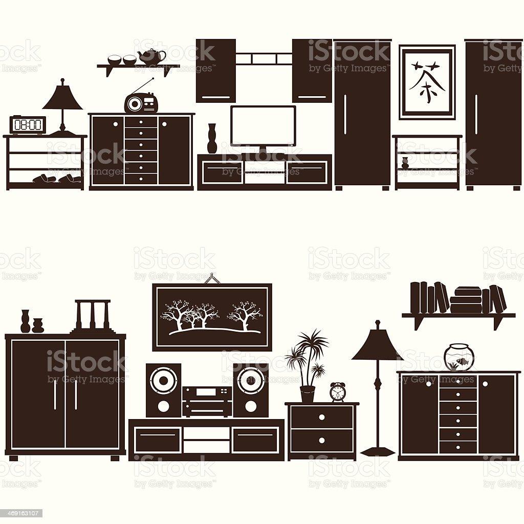 furniture sets eps10 vector art illustration