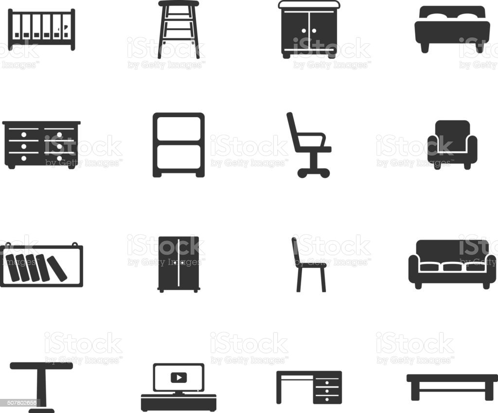 Furniture simply icons vector art illustration