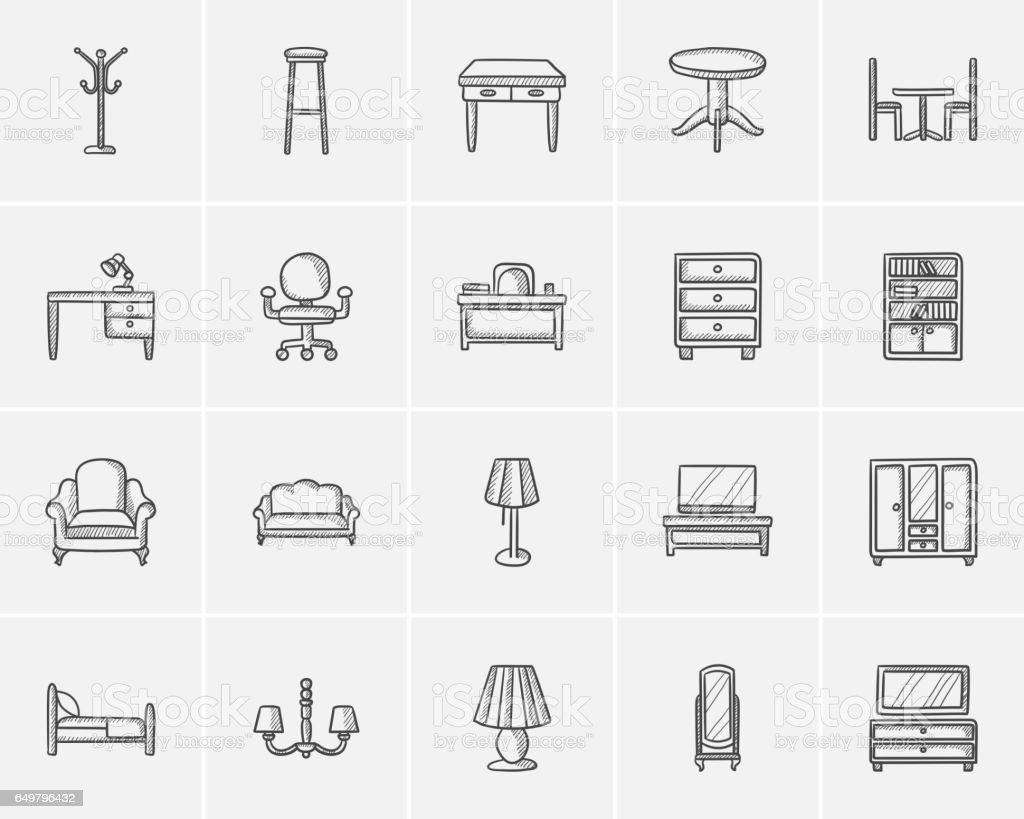 Furniture sketch icon set vector art illustration