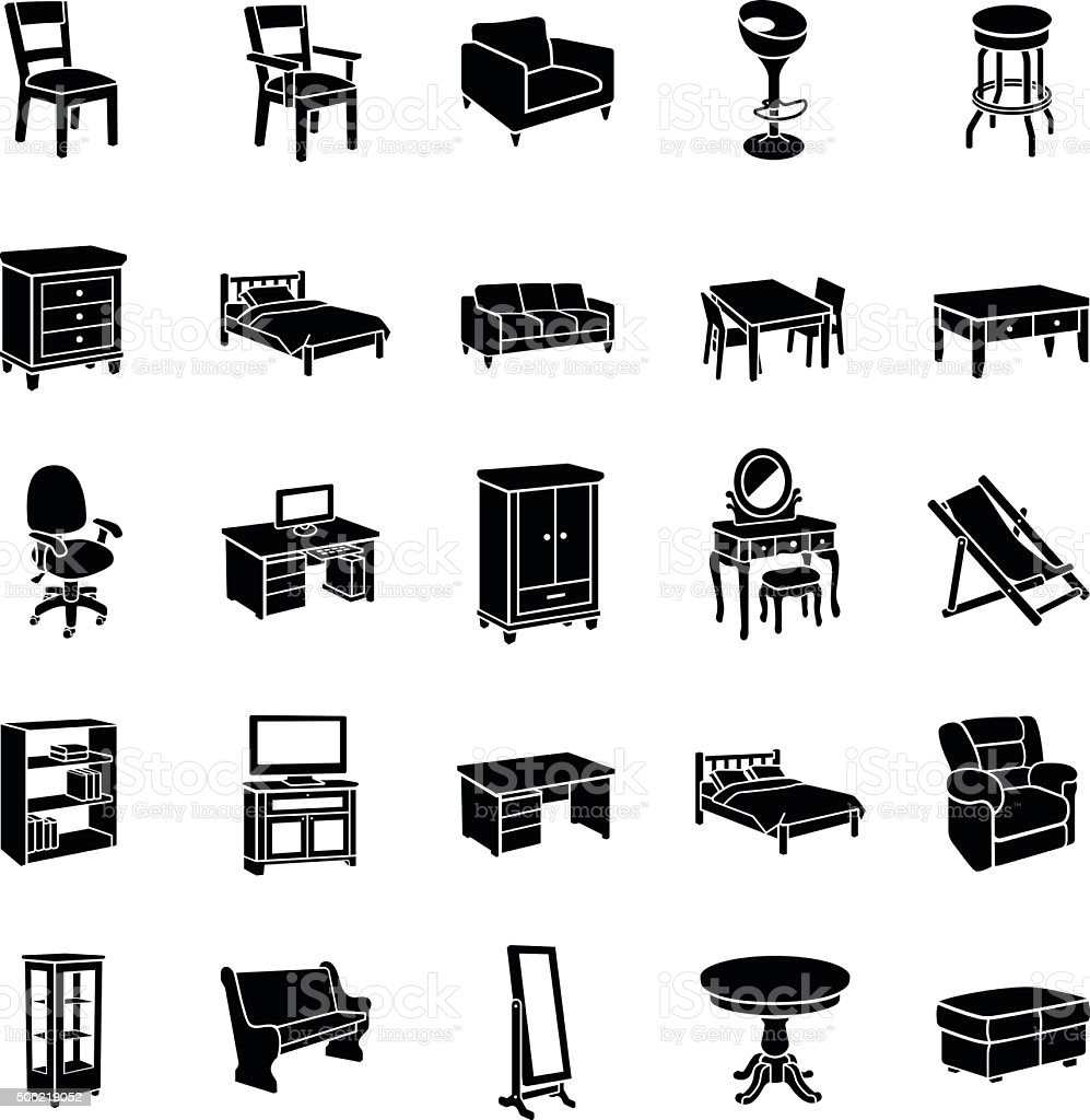Furniture vector icons vector art illustration