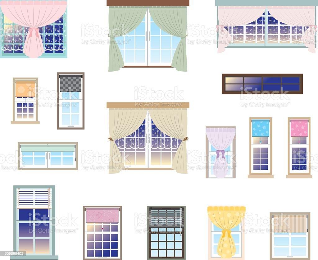 Furniture / Window vector art illustration