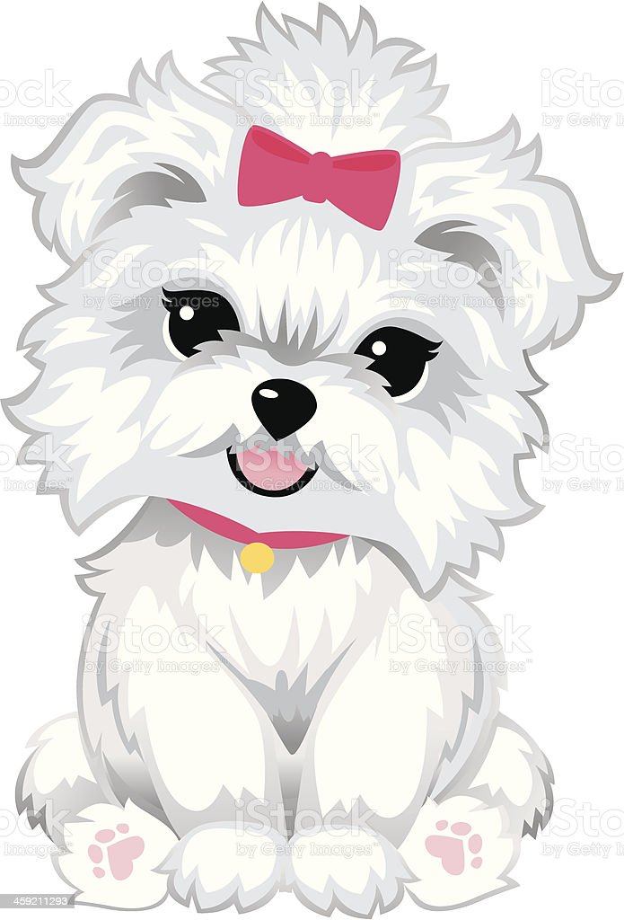 Furry White Puppy vector art illustration