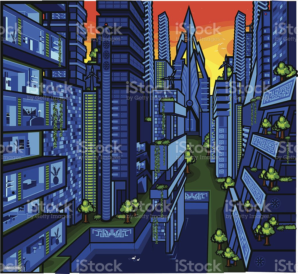 Future City 2150 vector art illustration