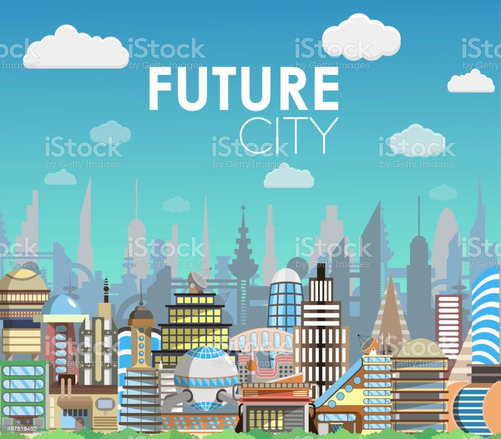 Town Landscape Vector Illustration: Future City Landscape Cartoon Vector Illustration Modern