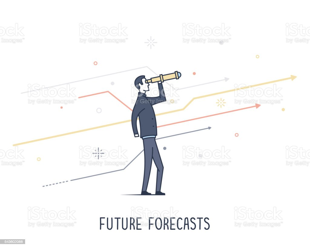 Future Forecasting vector art illustration