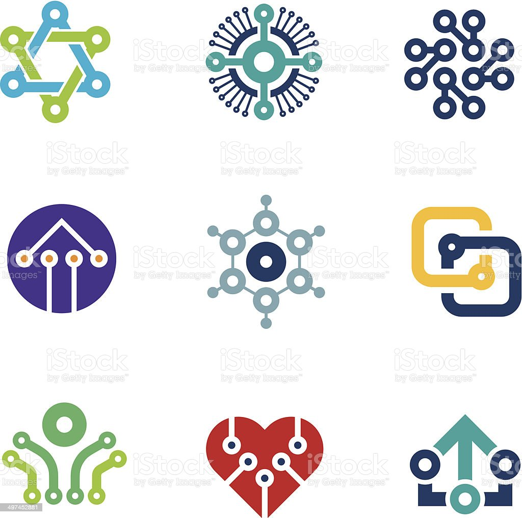 Future innovation technology computer  integrated chip nanotechnology science logo icons vector art illustration