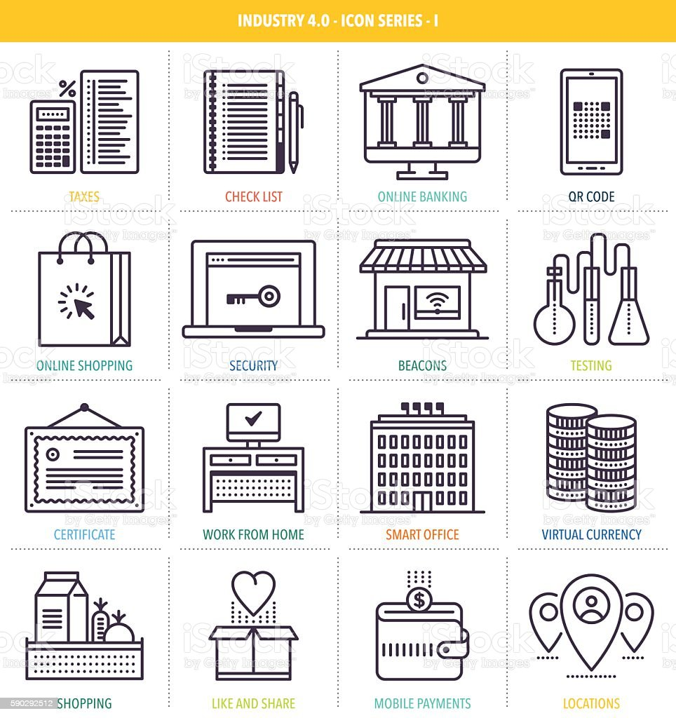 Future Marketing Icon Set vector art illustration