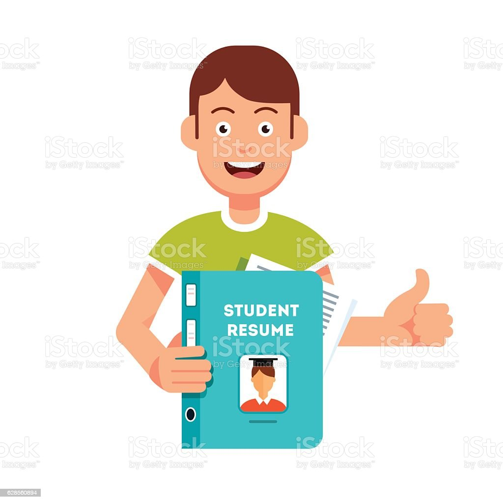 Future student holding and showing his resume vector art illustration