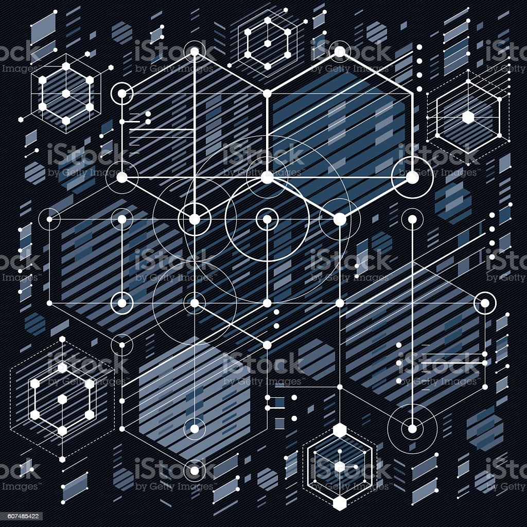 Future technology vector drawing, industrial wallpaper. Graphic  royalty-free stock vector art - Future Technology Vector Drawing Industrial Wallpaper Graphic