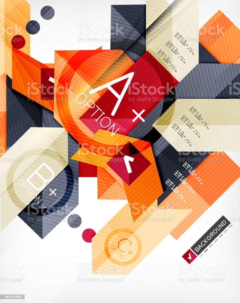 Futuristic abstract 3d infographic composition royalty-free stock vector art
