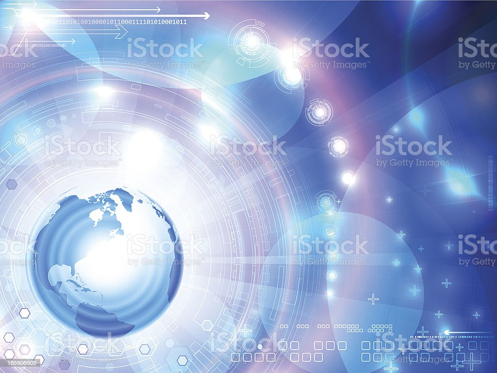 Futuristic background with globe. America royalty-free stock vector art