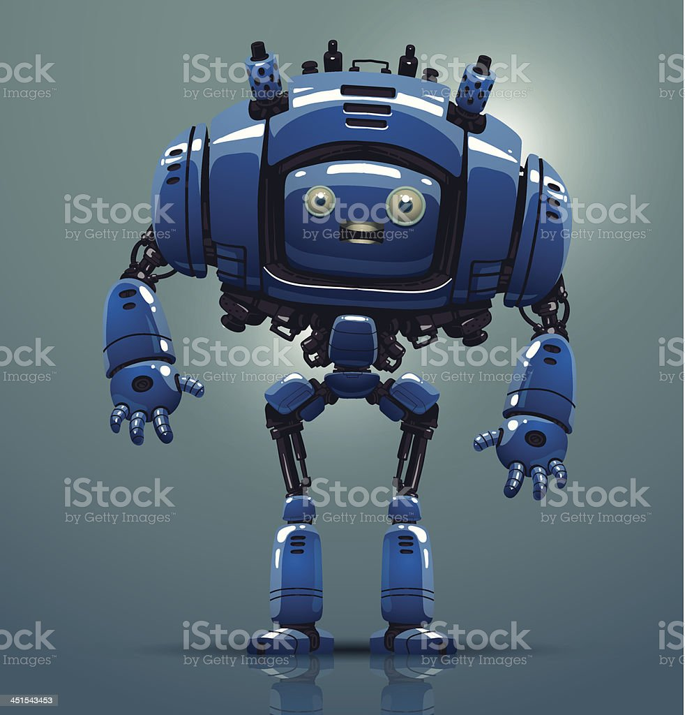 Futuristic blue robot standing on a gray background royalty-free stock vector art