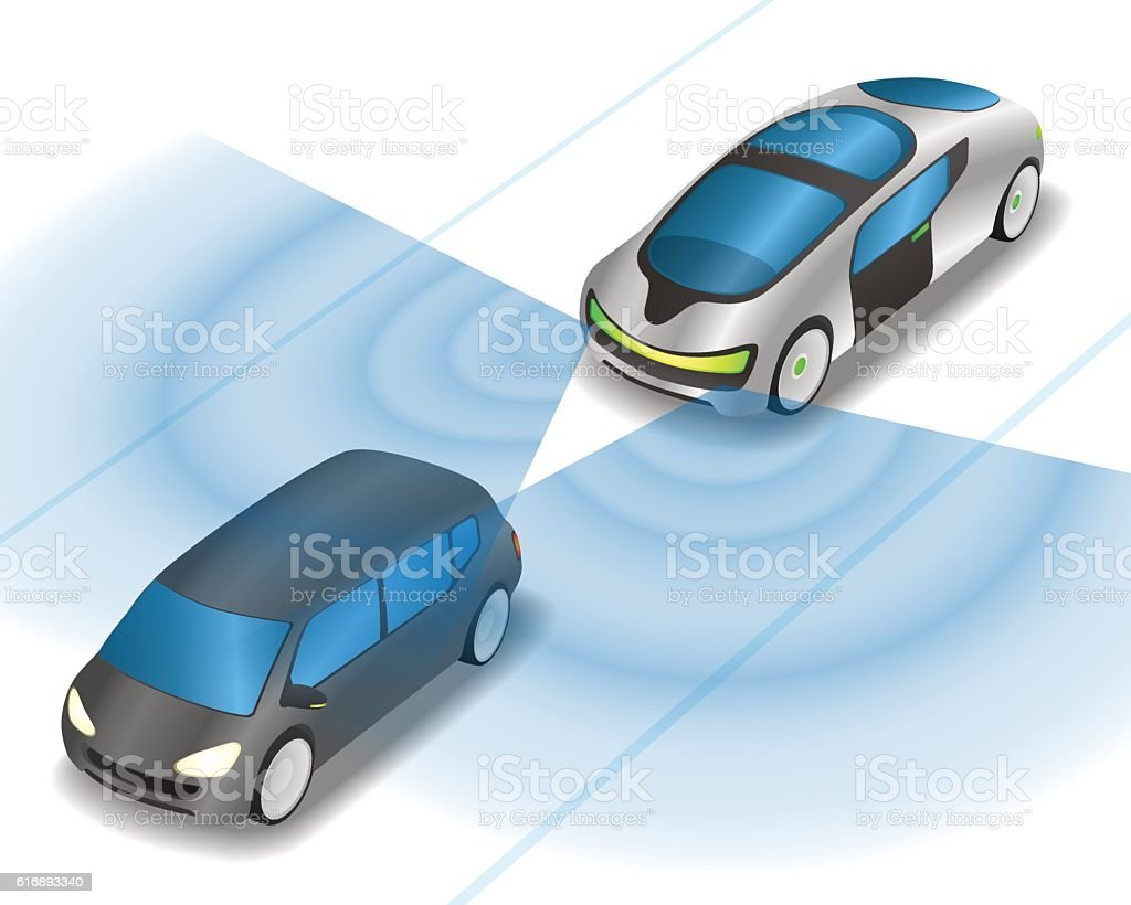 futuristic car and various sensors, Remote Sensing System of Vehicle. vector art illustration