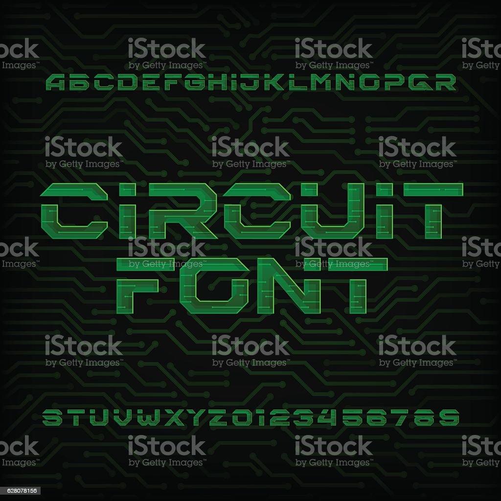 Futuristic circuit board alphabet vector font. vector art illustration
