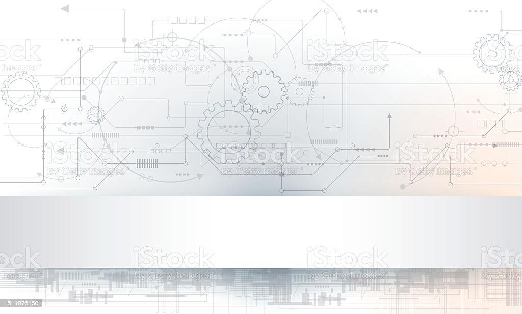 Futuristic circuit board-gear wheel vector art illustration