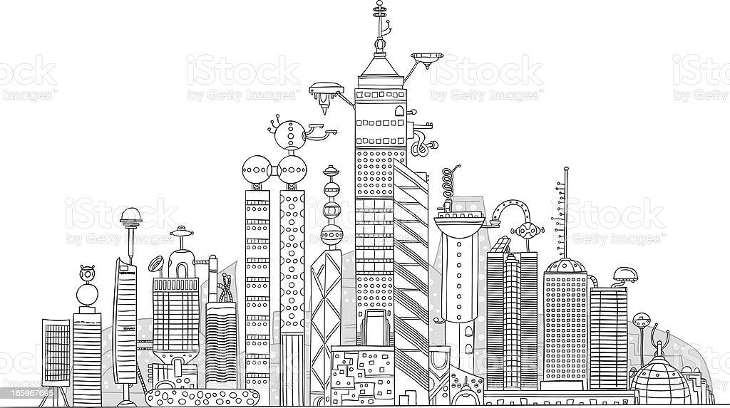 Futuristic city illustration royalty-free stock vector art