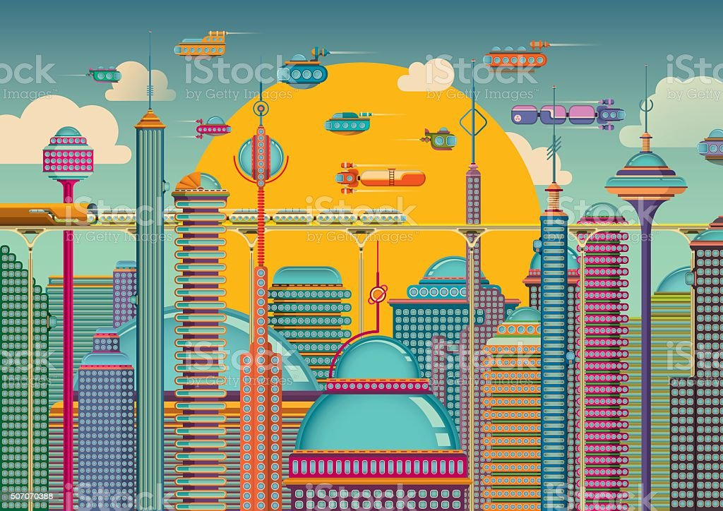 Futuristic city in color. vector art illustration