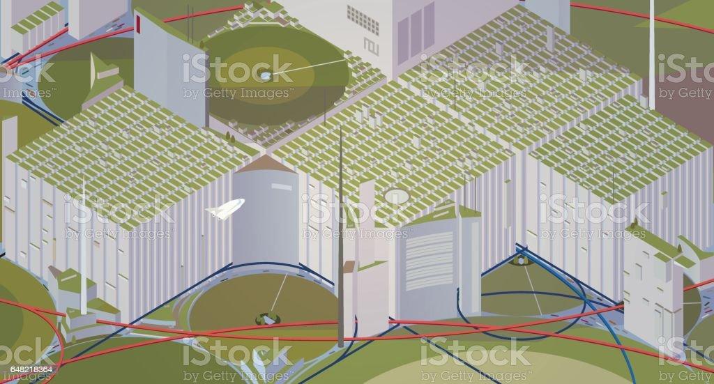 Futuristic city vector art illustration