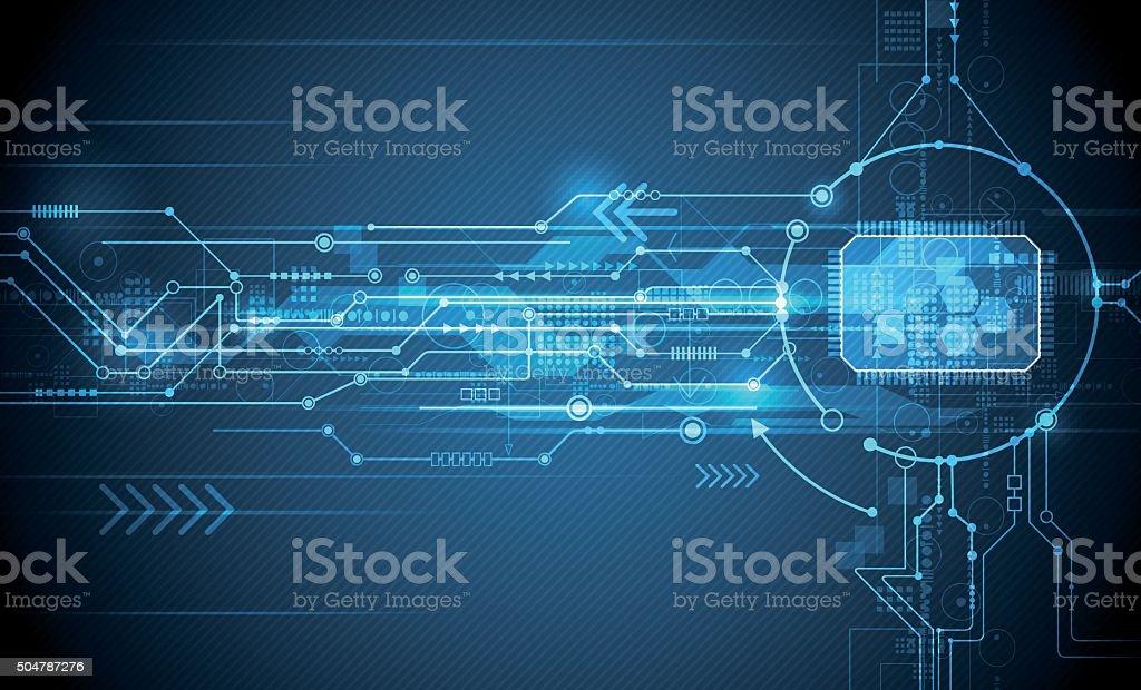 Futuristic eyeball on circuit board. Digital technology social media concept vector art illustration