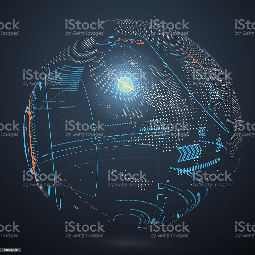 Futuristic globalization interface. vector art illustration