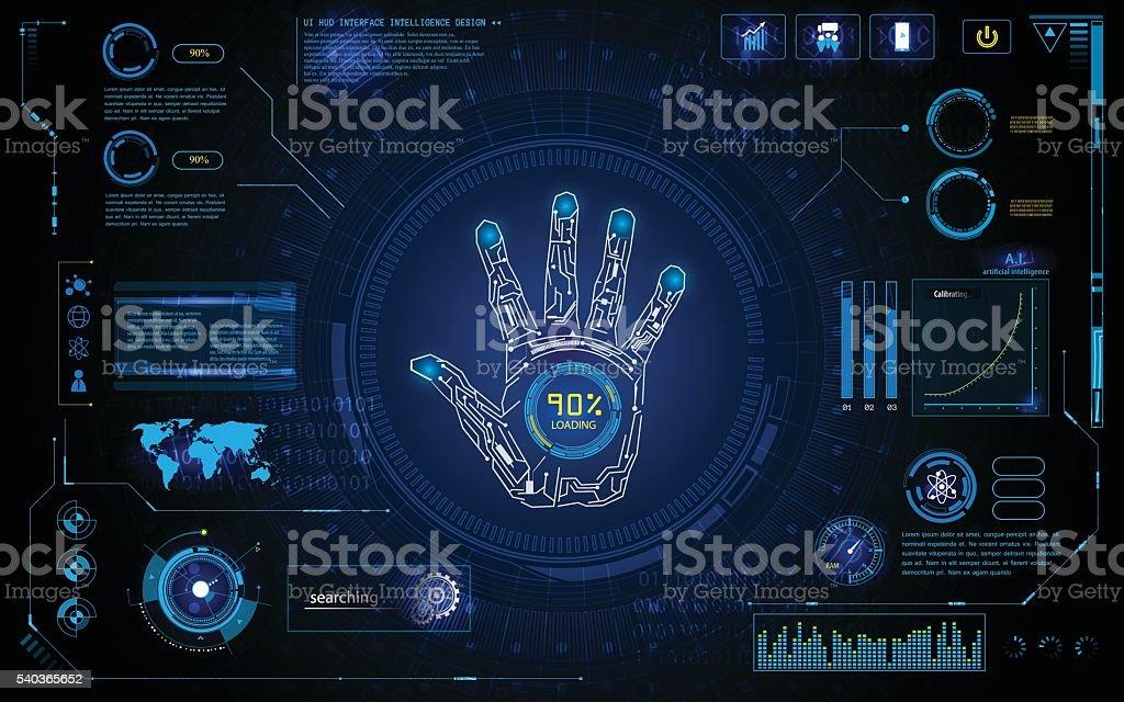 futuristic hand scan identify hud  element interface  design background template vector art illustration