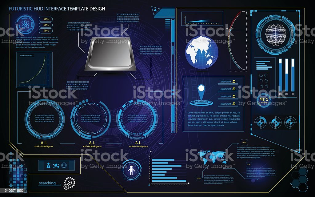 futuristic hud interface element design technology health care innovation vector art illustration
