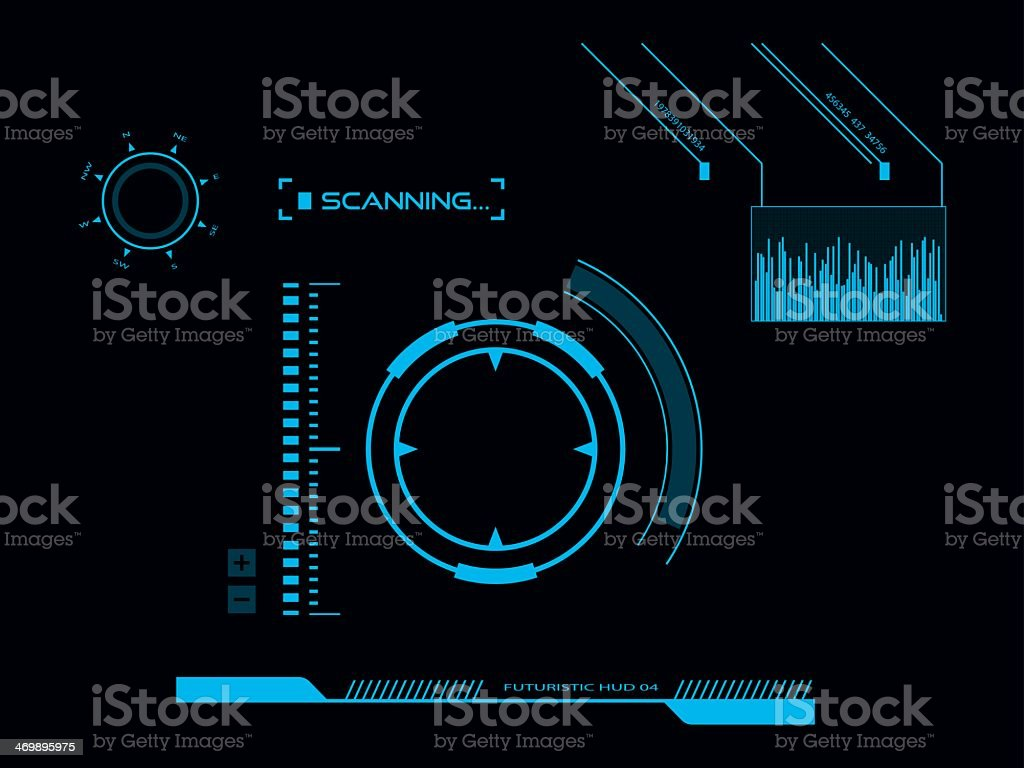 A futuristic HUD user interface royalty-free stock vector art