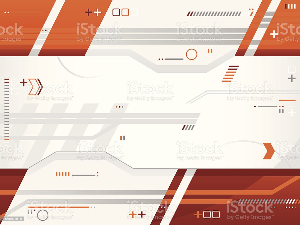 Futuristic infographic background in white & orange royalty-free stock vector art