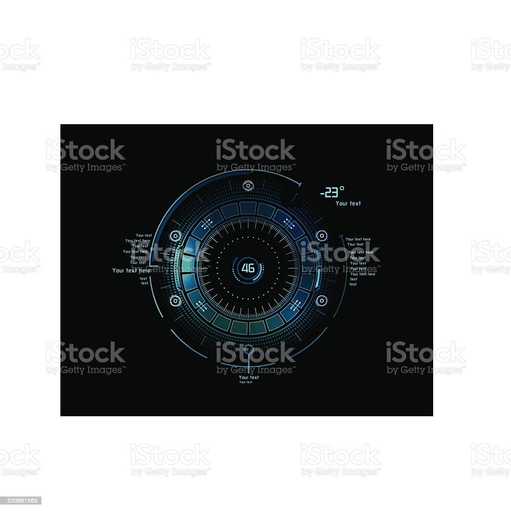 Futuristic infographics as head-up display vector art illustration