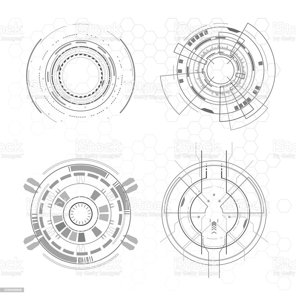 Futuristic interface elements vector art illustration