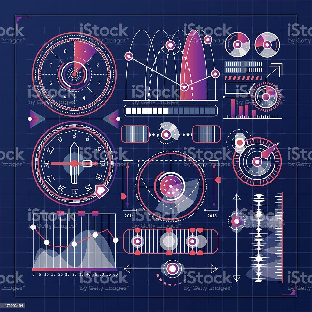Futuristic Interface vector elements. Game design elements vector art illustration