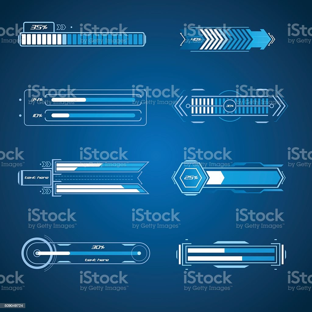 Futuristic loading elements vector art illustration