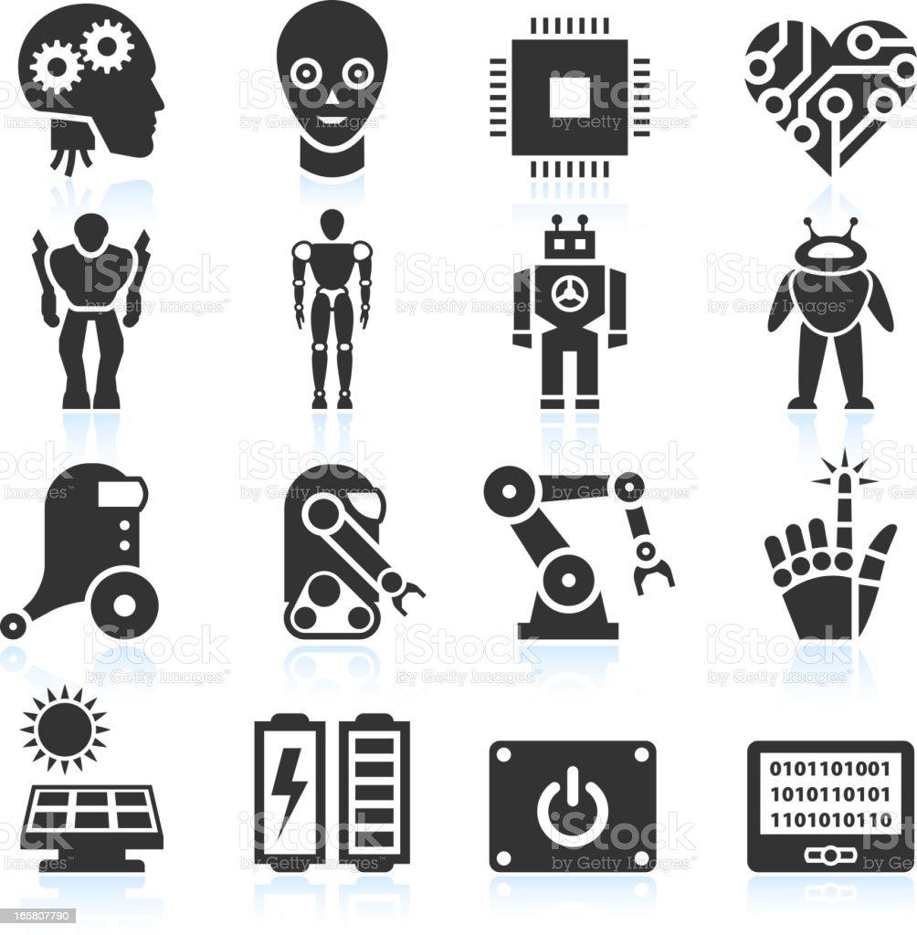Futuristic Robotics and Artificial Intelligence black & white icon set vector art illustration