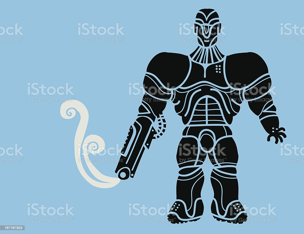 futuristic soldier with weapon arm royalty-free stock vector art