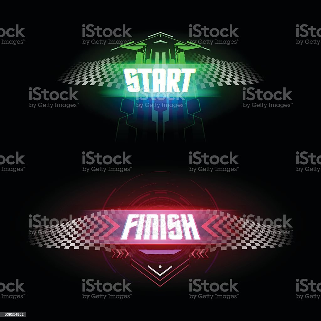 Futuristic start and finish flags vector art illustration