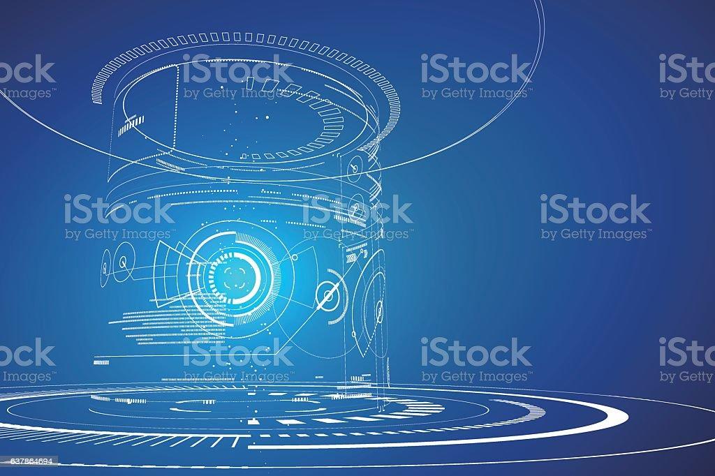 Futuristic three-dimensional interface, abstract graphic design. vector art illustration