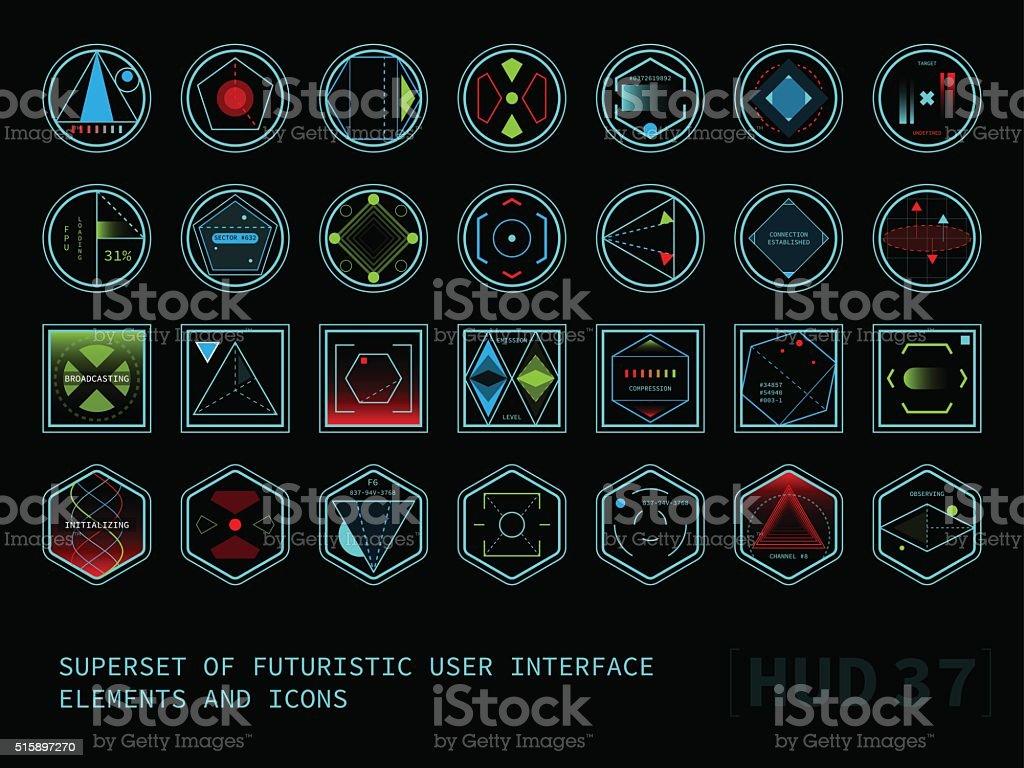 Futuristic touch screen user interface HUD vector art illustration