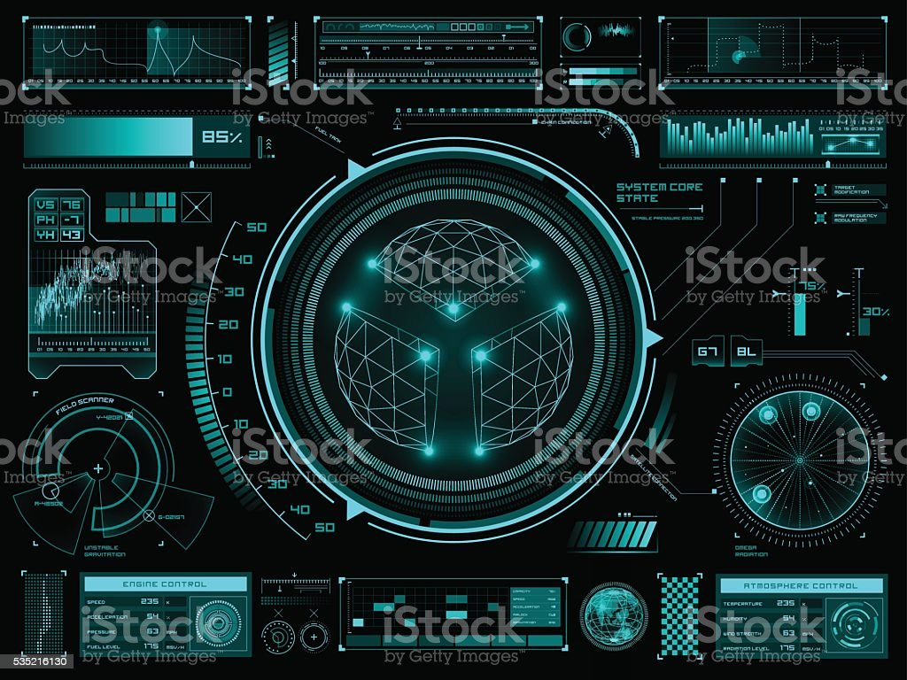 Futuristic touch screen user interface HUD vector art illustration