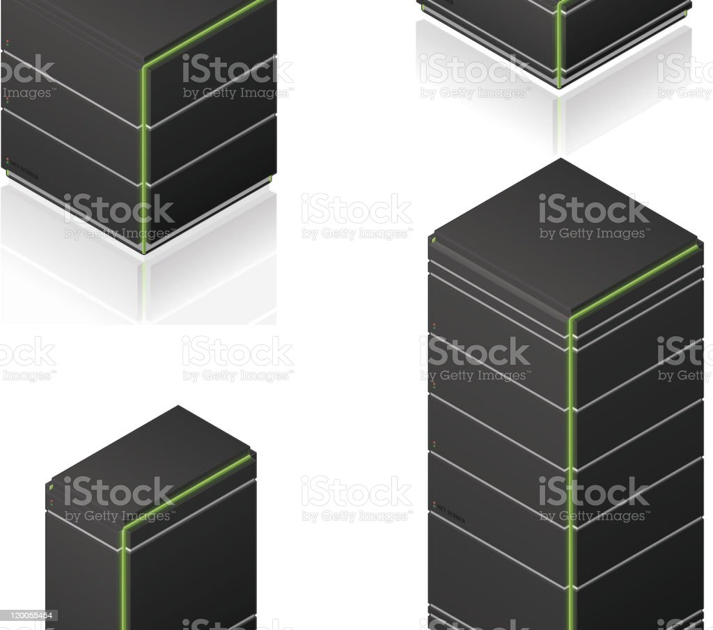 Futuristic Tower Server Rack royalty-free stock vector art