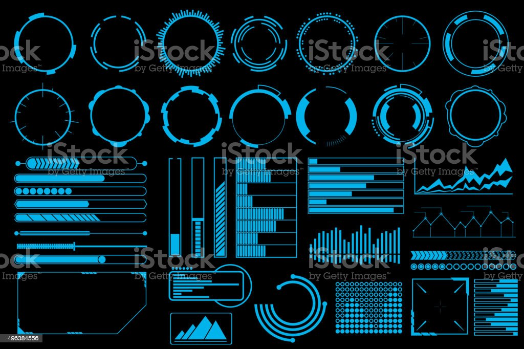 Futuristic user interface elements vector set vector art illustration